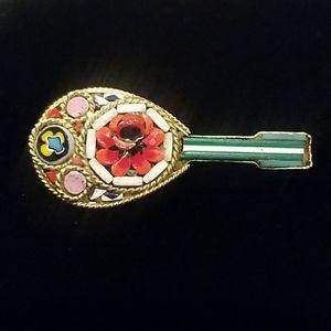 Micro Mosaic Mandolin Brooch-Pin